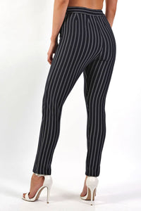 Pinstripe Slim Leg Pocket Detail Trousers in Navy Blue 1