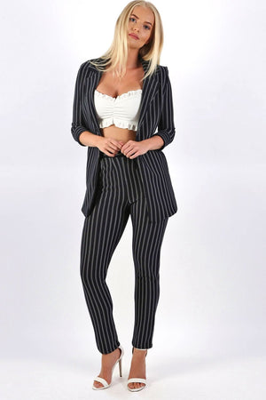 Pinstripe Slim Leg Pocket Detail Trousers in Navy Blue 2