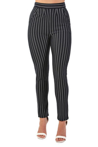 Pinstripe Slim Leg Pocket Detail Trousers in Navy Blue 3