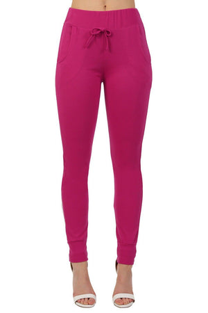 Side Stripe Detail Jogger Loungewear Bottoms in Magenta Pink 1