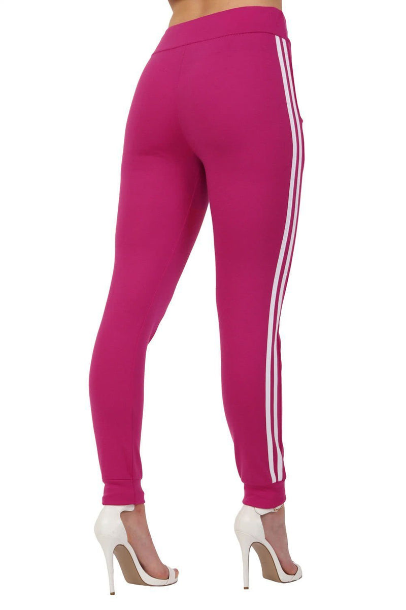 Side Stripe Detail Jogger Loungewear Bottoms in Magenta Pink 2