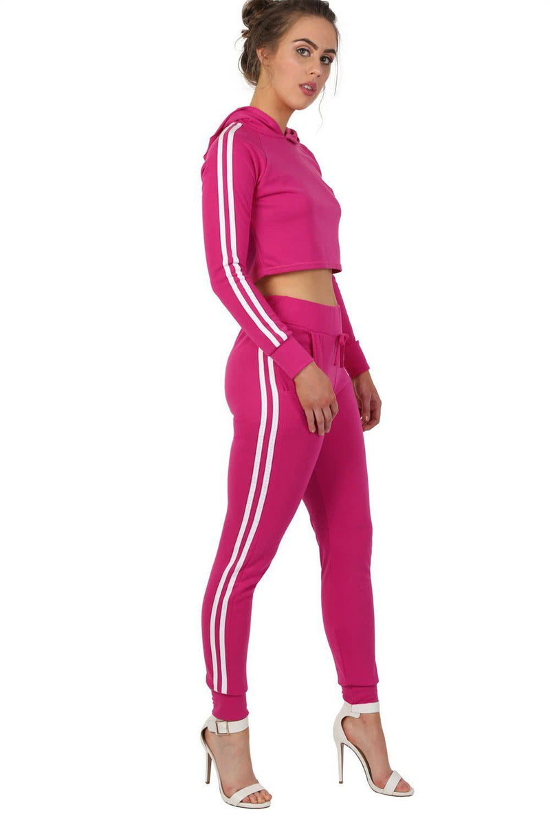 Side Stripe Detail Jogger Loungewear Bottoms in Magenta Pink 3