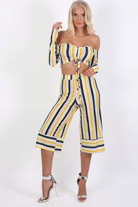 Stripe Culotte Trousers in Mustard Yellow 2