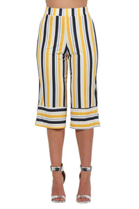 Stripe Culotte Trousers in Mustard Yellow 3