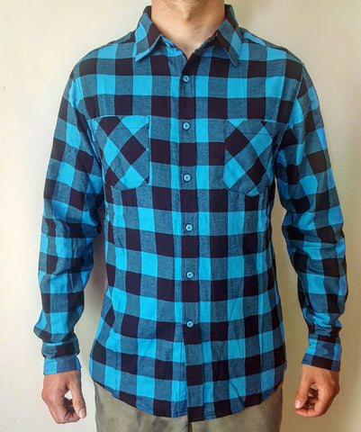 Reckless Outerwear Blue Black checked flannel shirt