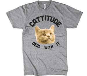 cattitude deal with it cat t-shirt - Shirtoopia