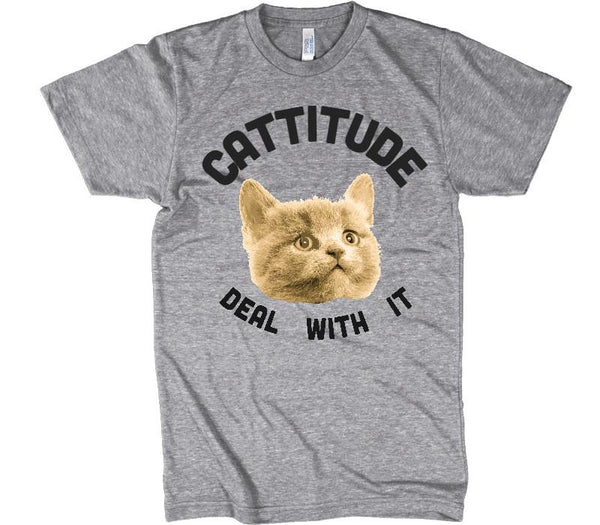 cattitude deal with it cat t-shirt