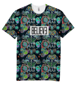 Believe UFO Neon Holographic T-Shirt - Shirtoopia