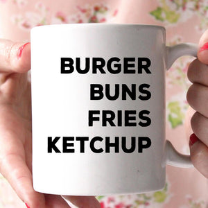 burger buns fries ketchup coffee mug
