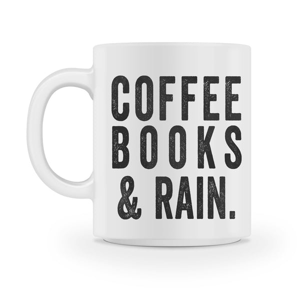 coffee books and rain coffee mug