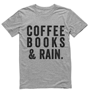 coffee books and rain t-shirt - Shirtoopia