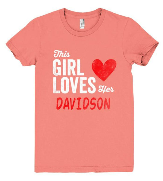 This Girl Loves her DAVIDSON Personalized T-Shirt - Shirtoopia
