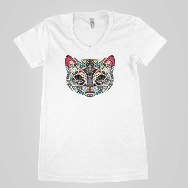 Psychedelic Cat Face Women`s Tee - Shirtoopia