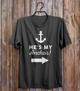 He's My Anchor Right Arrow T-shirt Black