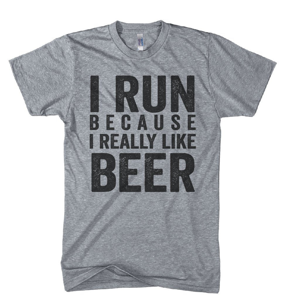 i run because i really like beer athletic workout t shirt - Shirtoopia