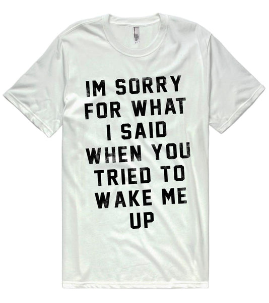 im sorry for what i said when you tried to wake me up t-shirt - Shirtoopia