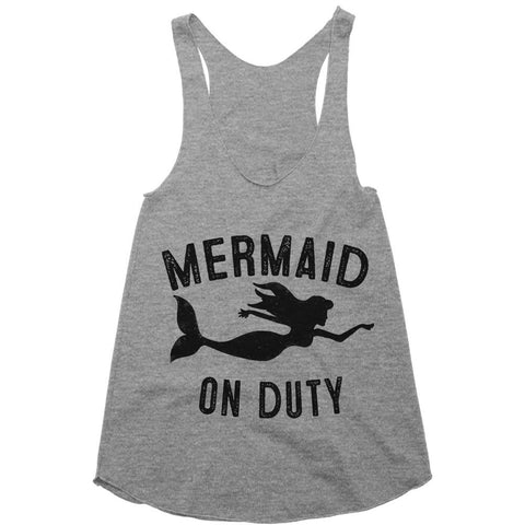 mermaid on duty racerback top shirt