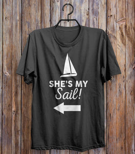 She's My Sail! Left T-shirt Black