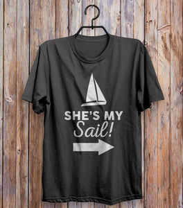 She's My Sail! Right T-shirt Black