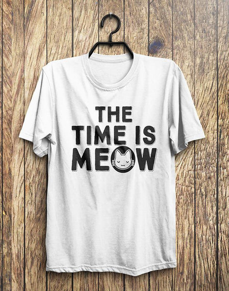 The Time Is MEOW Kitten Cat T-Shirt - Shirtoopia