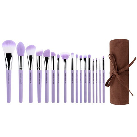 Bdellium Purple Bambu Precision 17pc. Brush Set with Roll-up Pouch