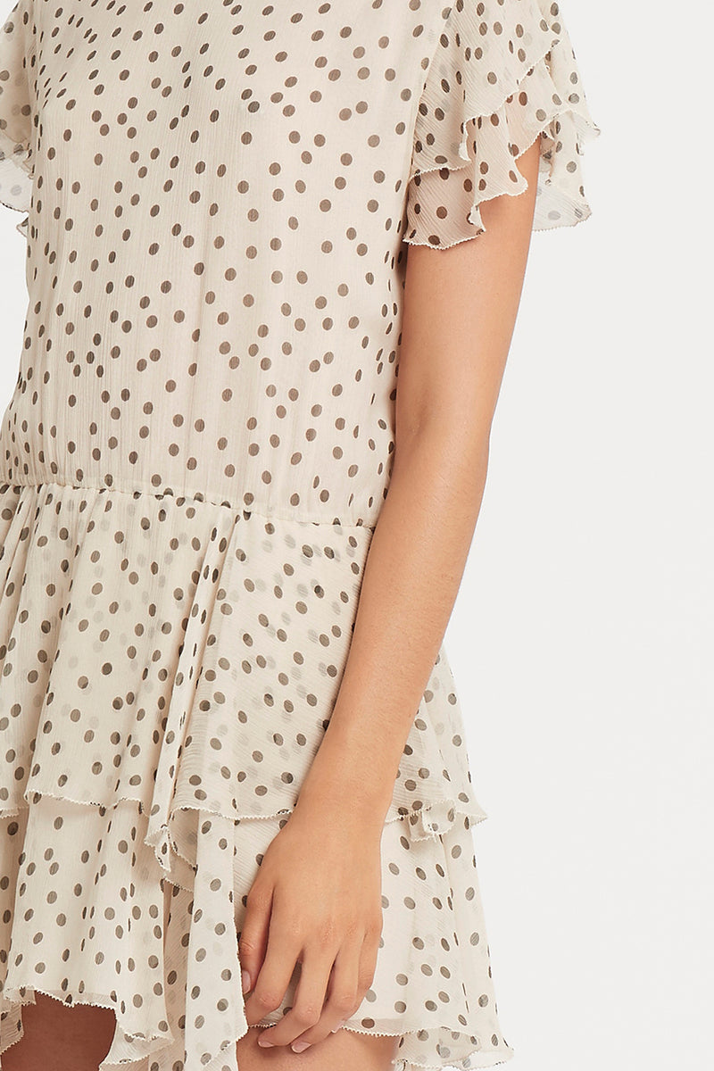 SIR the label ISABELLA RUFFLE MINI DRESS BONE POLKA DOT