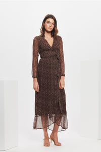 MYRA WRAP MIDI DRESS