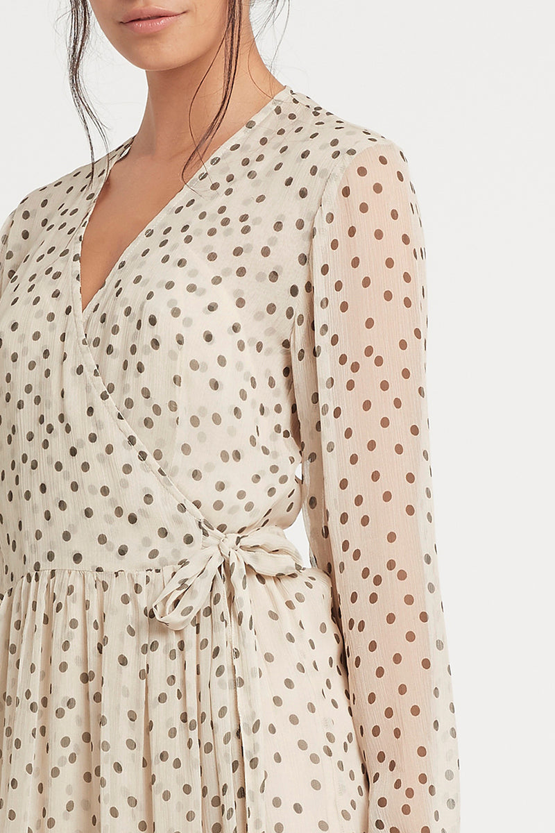 SIR the label ISABELLA LONG SLEEVE WRAP DRESS BONE POLKA DOT