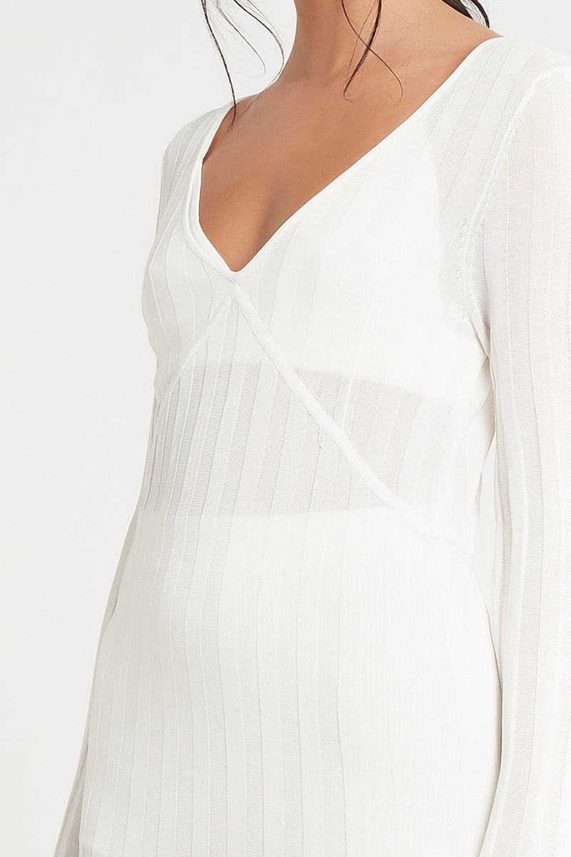 SIR the label AYA V NECK MIDI DRESS IVORY