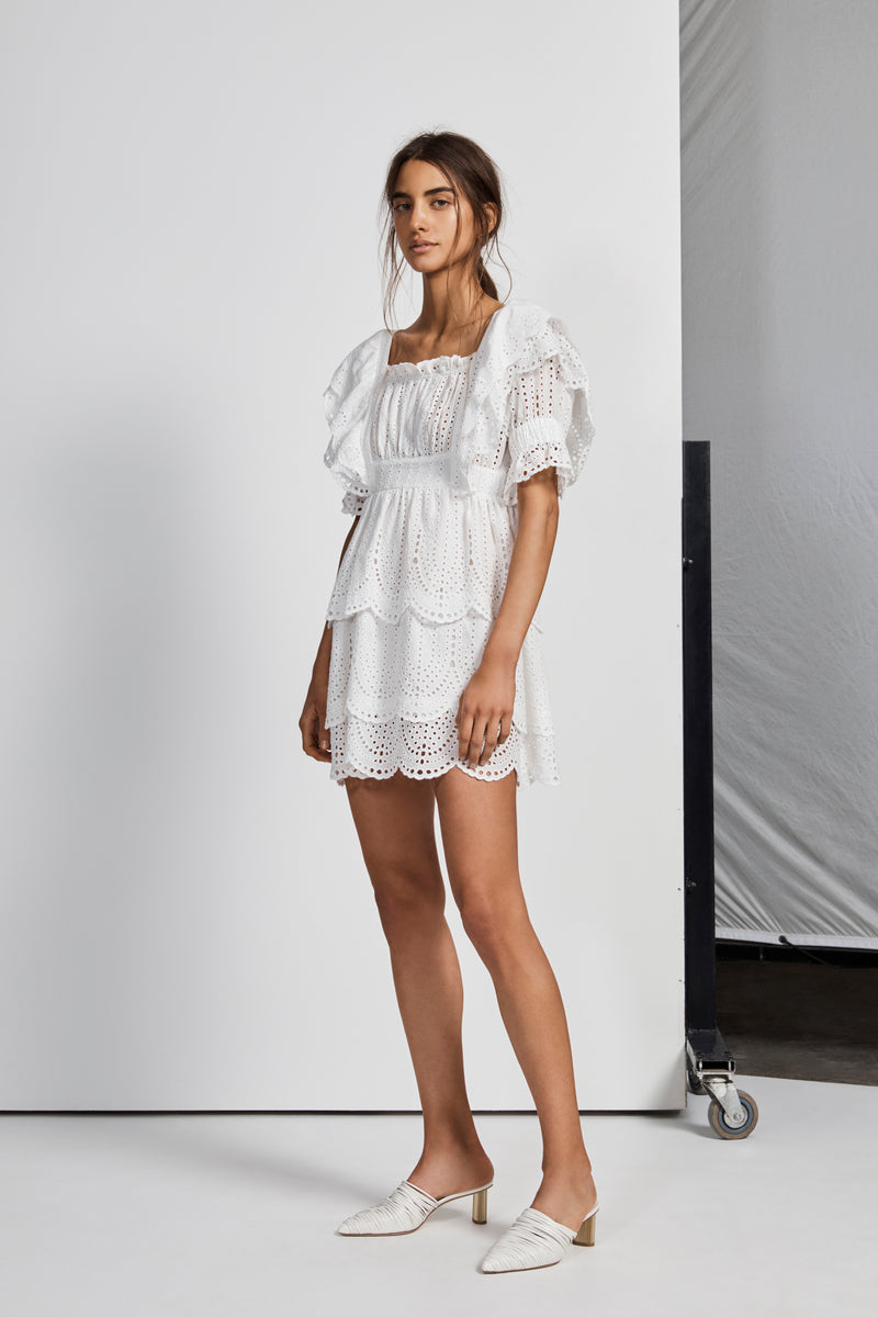 LEILA RUFFLE MINI DRESS