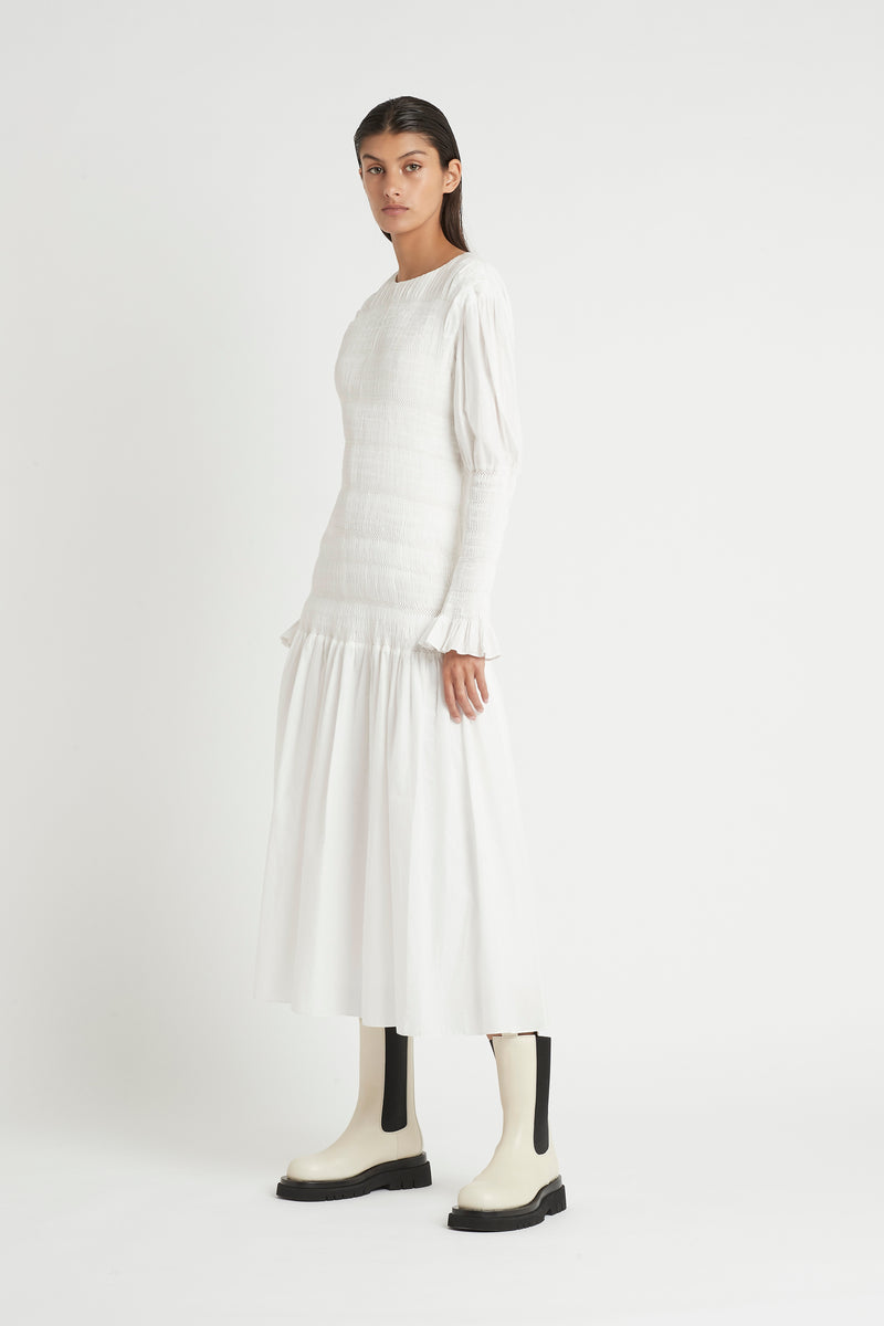 CECIL LONG SLEEVE MIDI DRESS