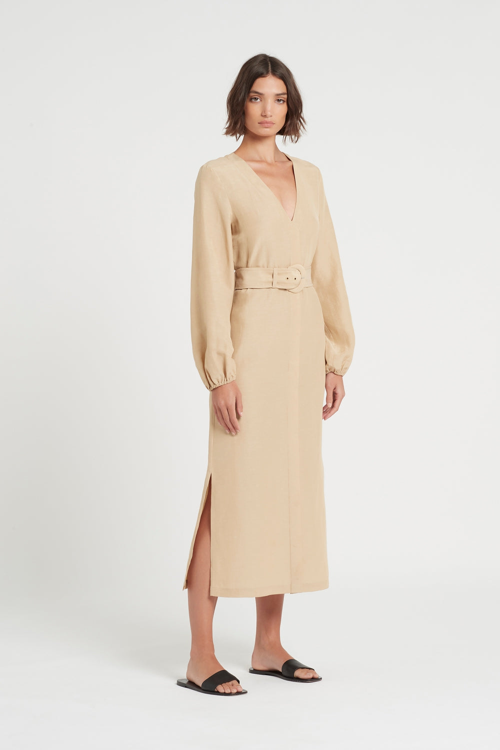 SIR the label LEON LONG SLEEVE MIDI DRESS CARMELO