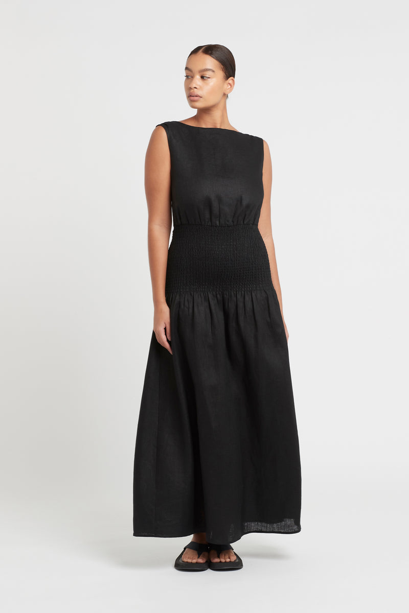 SIR the label LORENA OPEN BACK MAXI DRESS BLACK