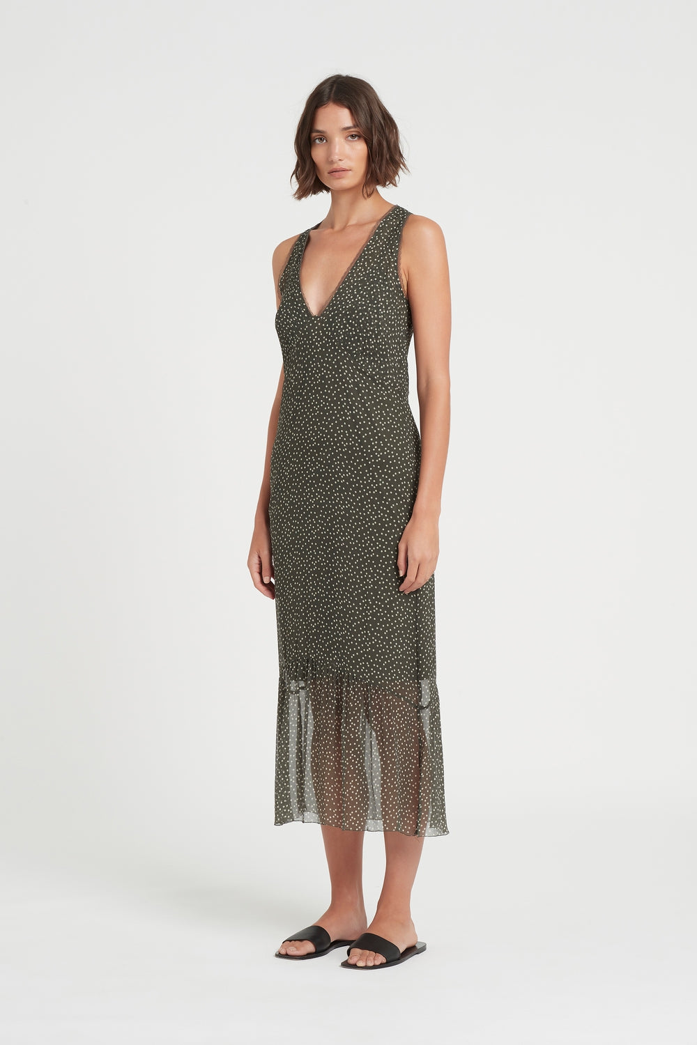 SIR the label ISABELLA SLIP DRESS OLIVE POLKA DOT