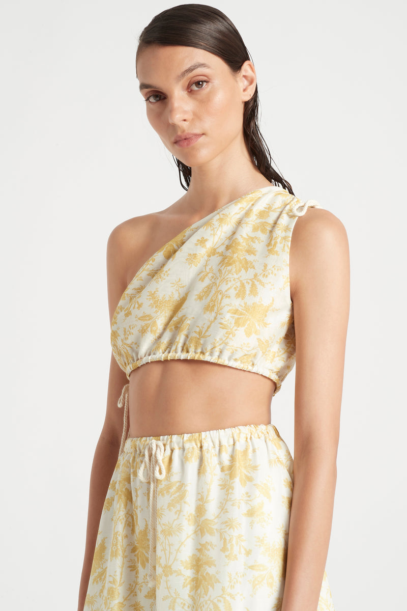 SIR the label CLEMENTINE ONE SHOULDER TOP IVORY CLEMENTINE PRINT