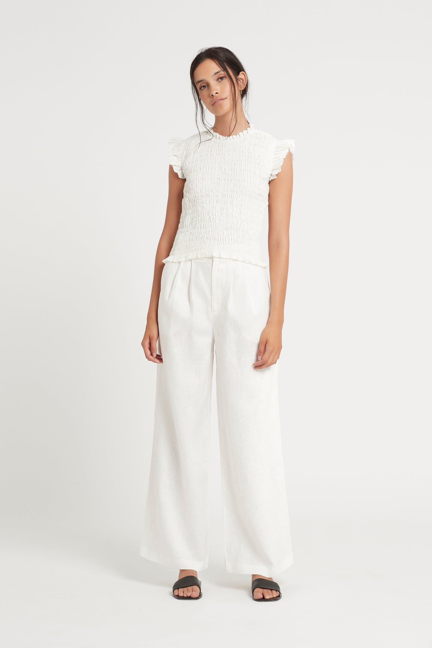 SIR the label LORENA RUCHED TOP IVORY