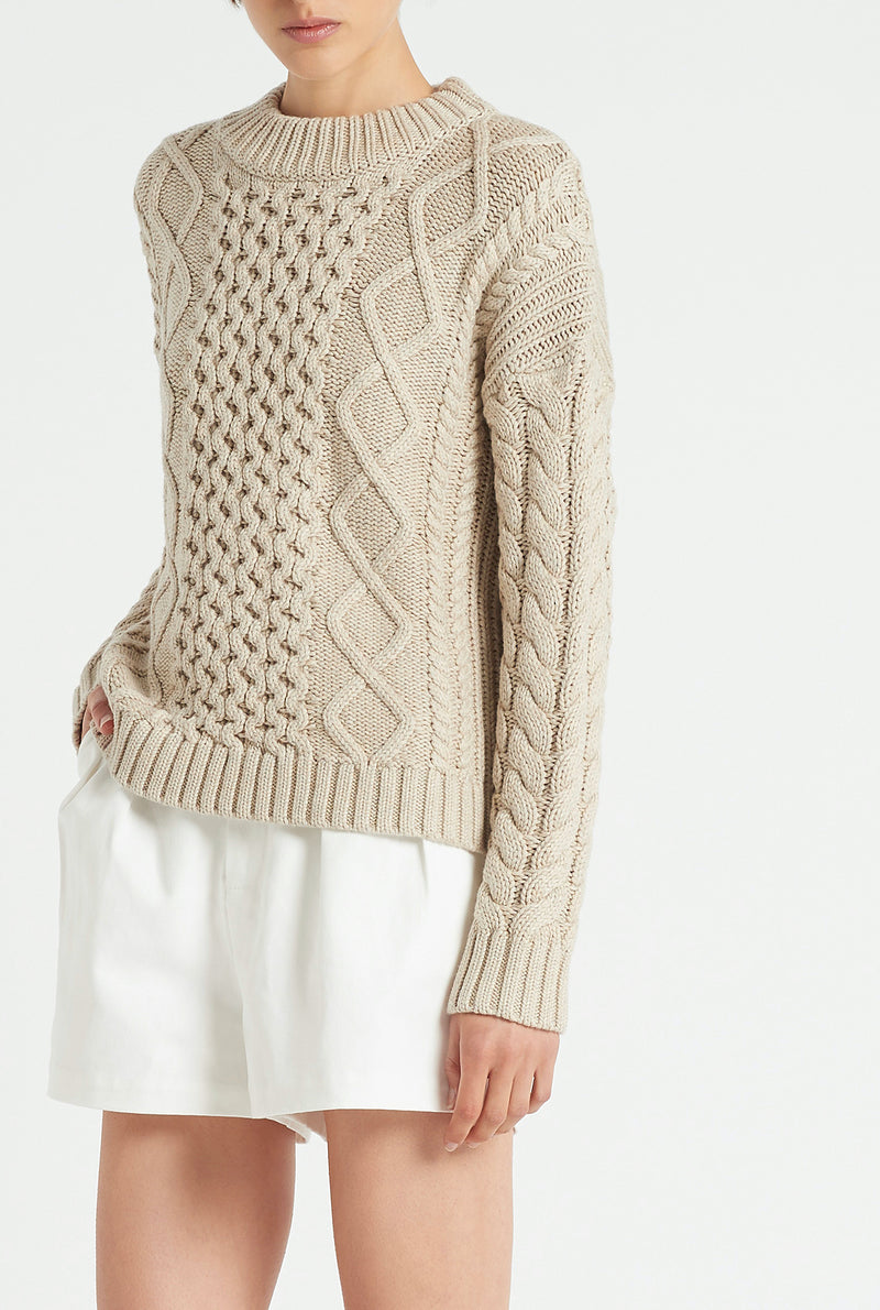 SIR the label AVA CABLE SWEATER BONE