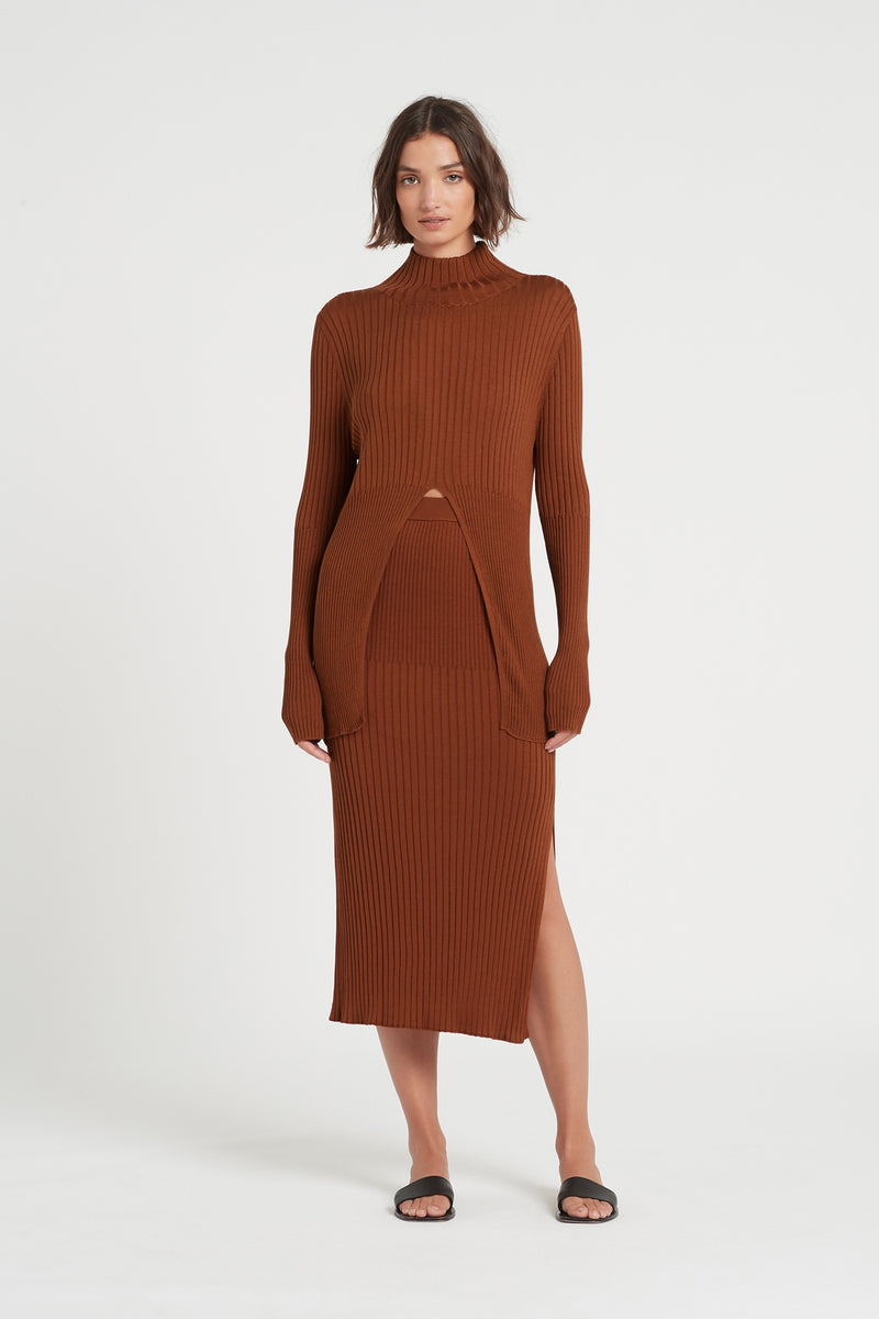 SIR the label ASTRID MIDI SKIRT RUST