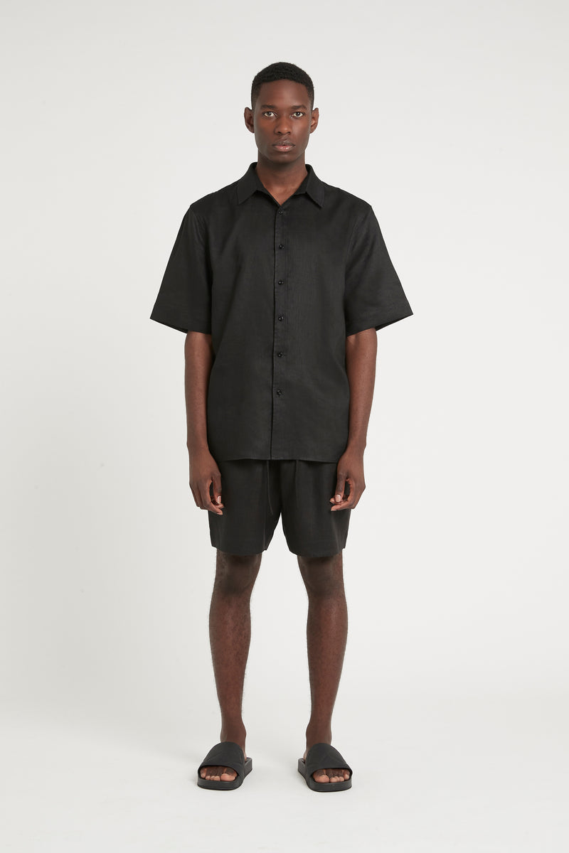 SIR the label FRANCES MENS SHORT SLEEVE SHIRT BLACK