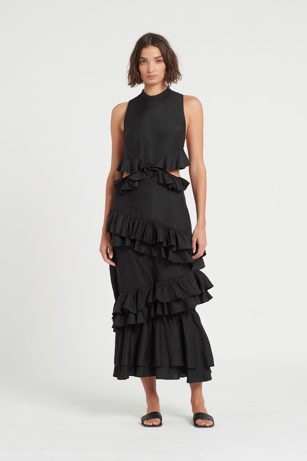 SIR the label ARAMIS RUFFLE GOWN BLACK