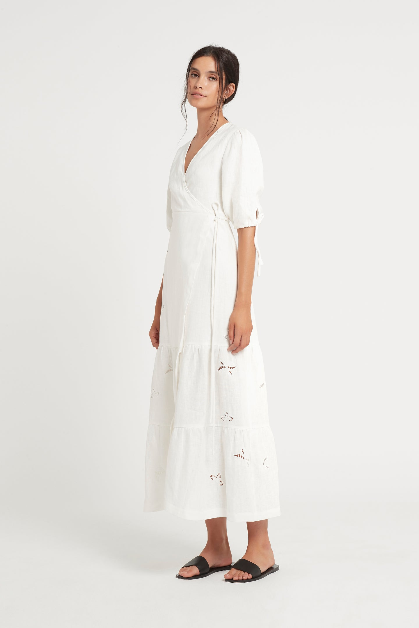 SIR the label ALENA WRAP MIDI DRESS IVORY