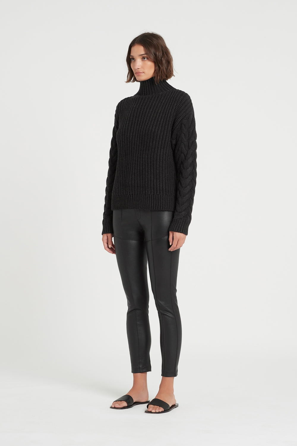 SIR the label AVA HIGH NECK SWEATER BLACK