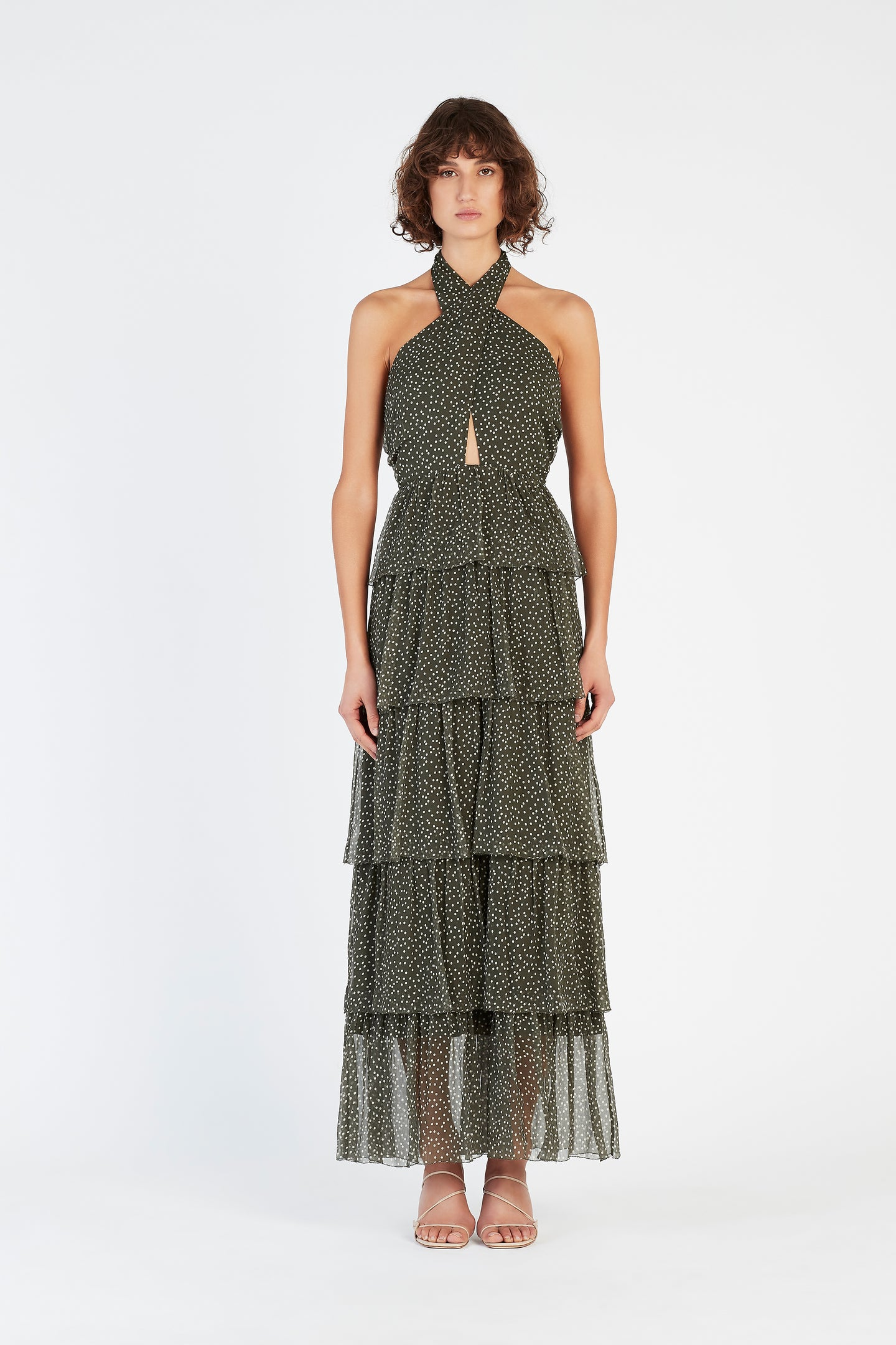 SIR the label ISABELLA HALTER GOWN OLIVE POLKA DOT