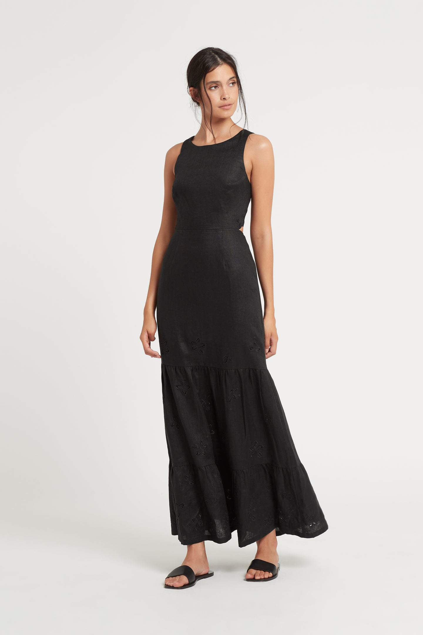 SIR the label ALENA TIERED MAXI DRESS BLACK