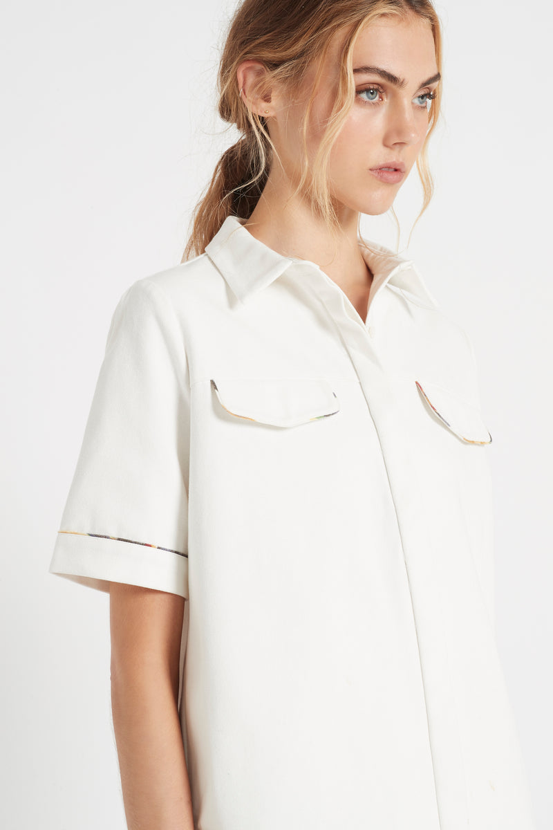 SIR the label MAURICE SHORT SLEEVE SHIRT IVORY