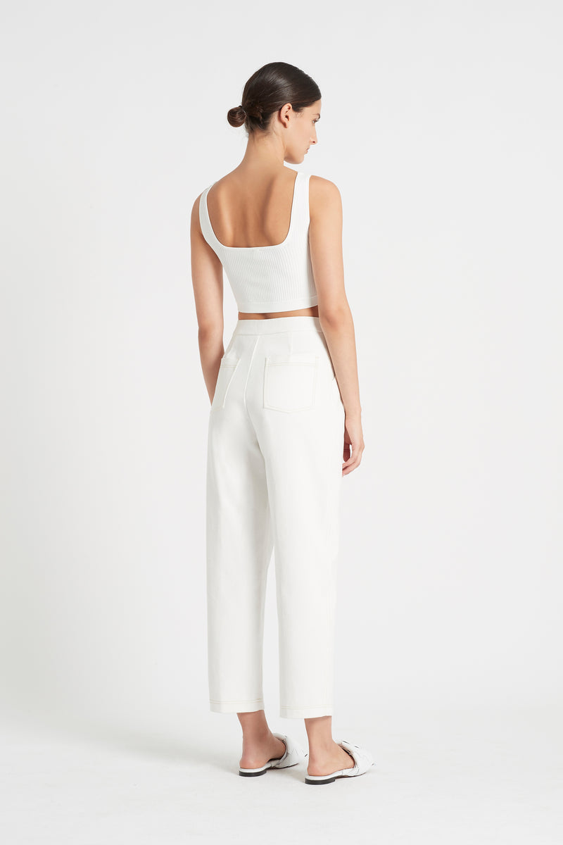 SIR the label AGNES RIBBED CROP IVORY