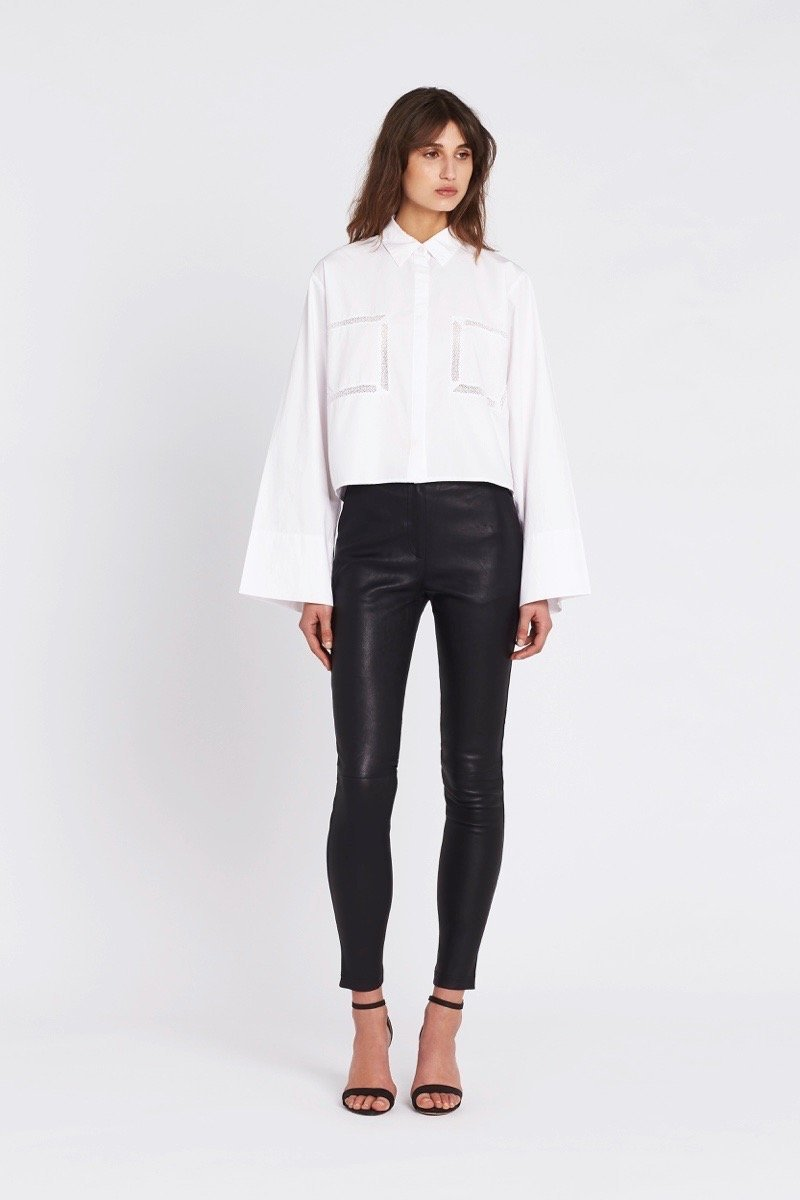 SIR the label CLEMENTINE CROPPED SHIRT WHITE