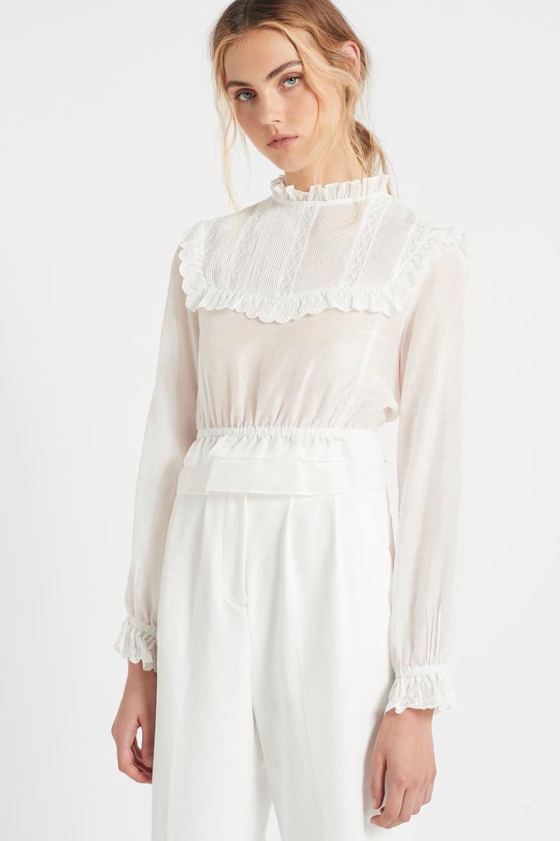 SIR the label MAISIE LONG SLEEVE TOP IVORY