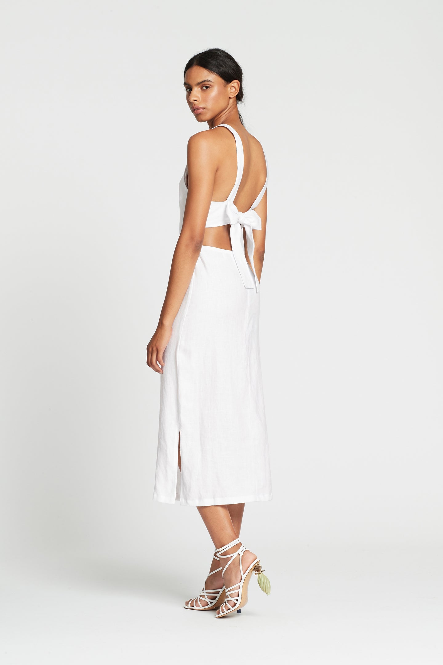 SIR the label JAC TIE BACK MIDI DRESS WHITE
