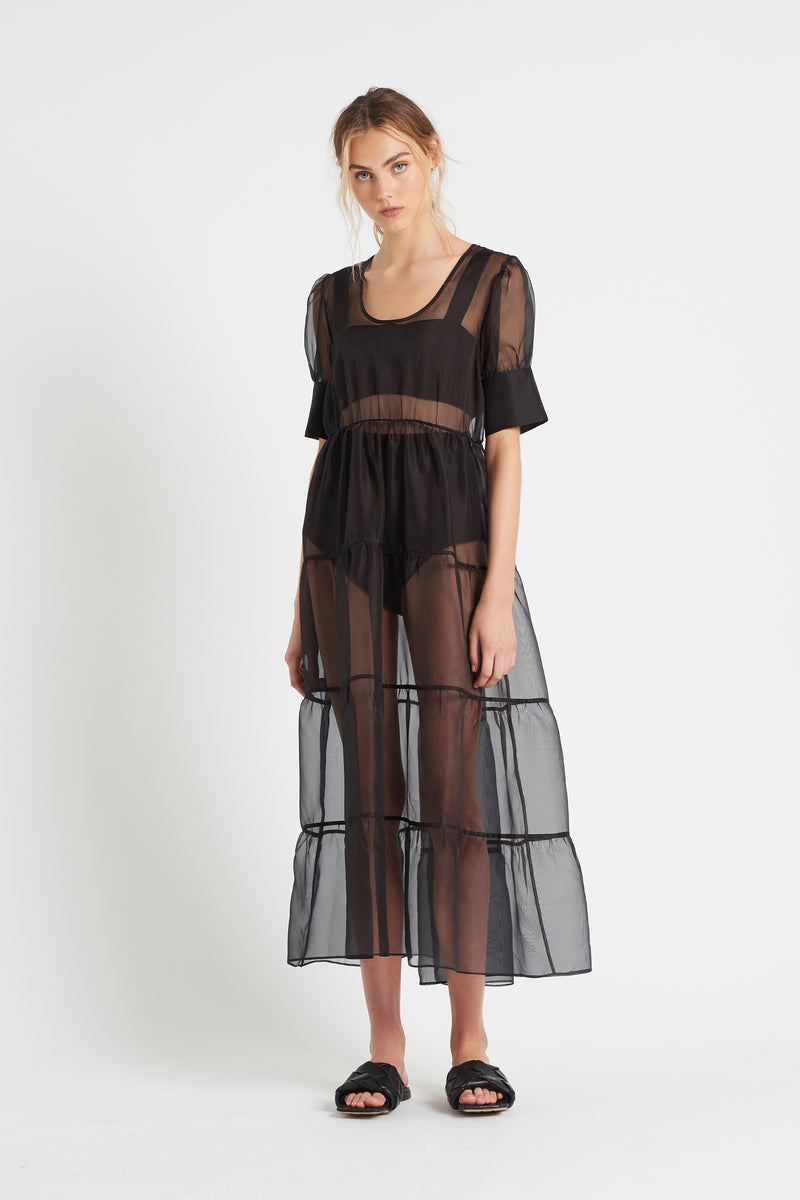SIR the label MAELIE PUFF SLEEVE GOWN BLACK